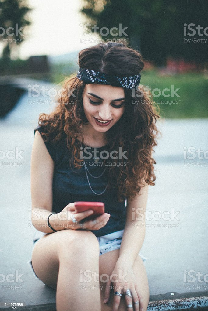 Beautiful skater girl stock photo