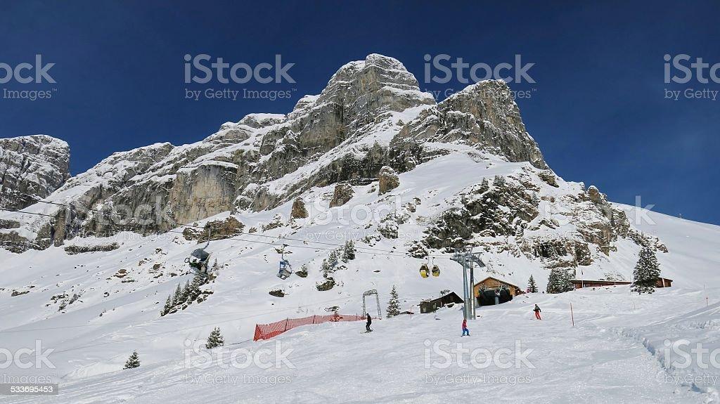 Beautiful ski area in Braunwald stock photo