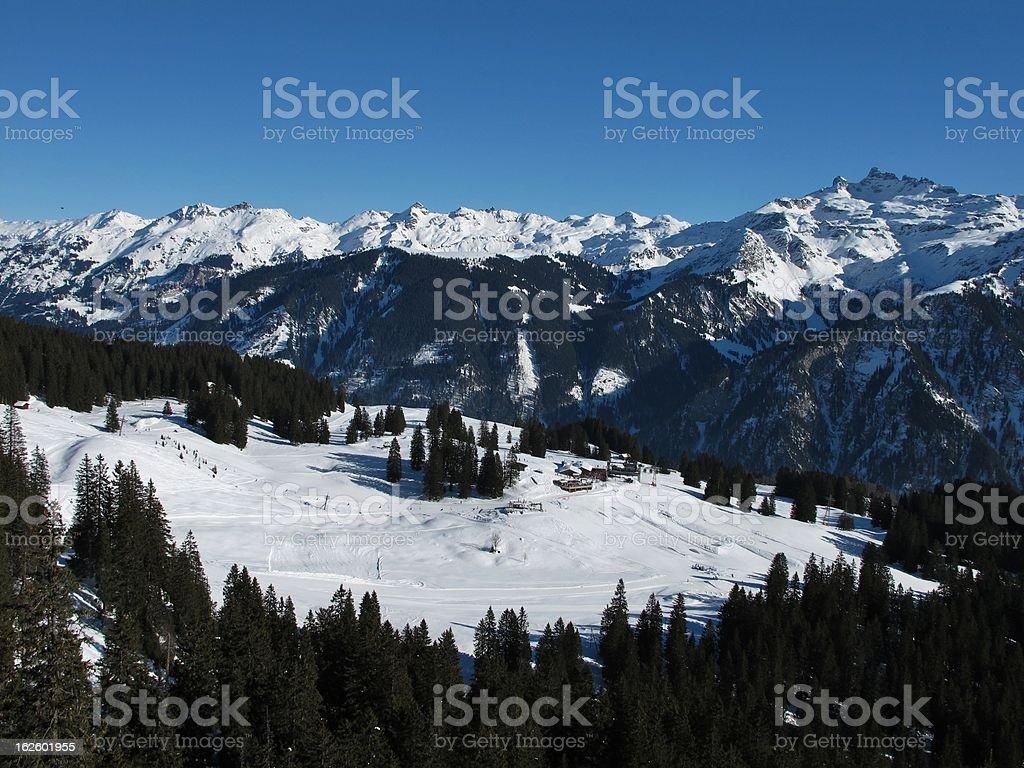 Beautiful ski region Braunwald, mountains stock photo