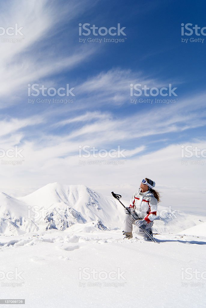 Beautiful skier on the top of mountain in Palandoken royalty-free stock photo