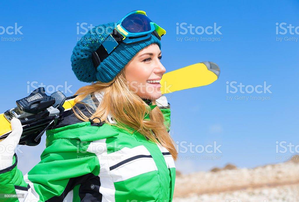 Beautiful skier woman stock photo