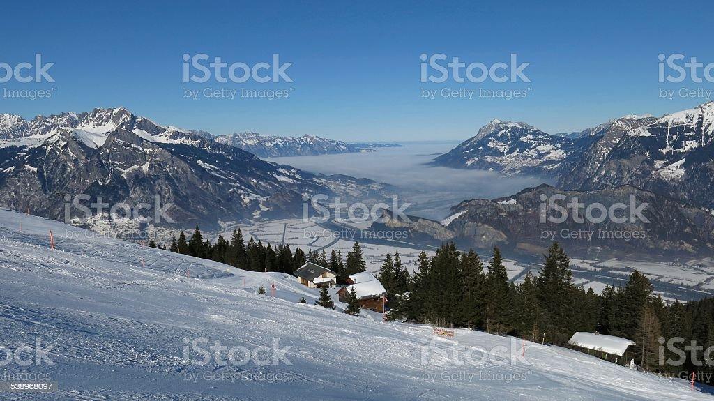 Beautiful skiing day in the ski area Pizol stock photo