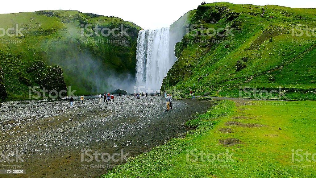 Beautiful ''Skogafoss'' waterfall in Iceland stock photo