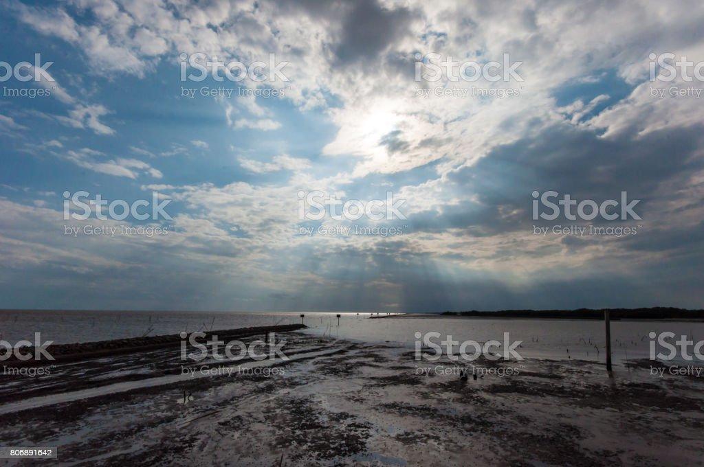 Beautiful Sky and  Low Tide Sea stock photo