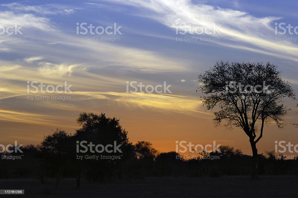Beautiful sky in africa after sunset stock photo
