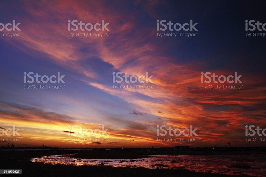 Beautiful sky on a windy day stock photo
