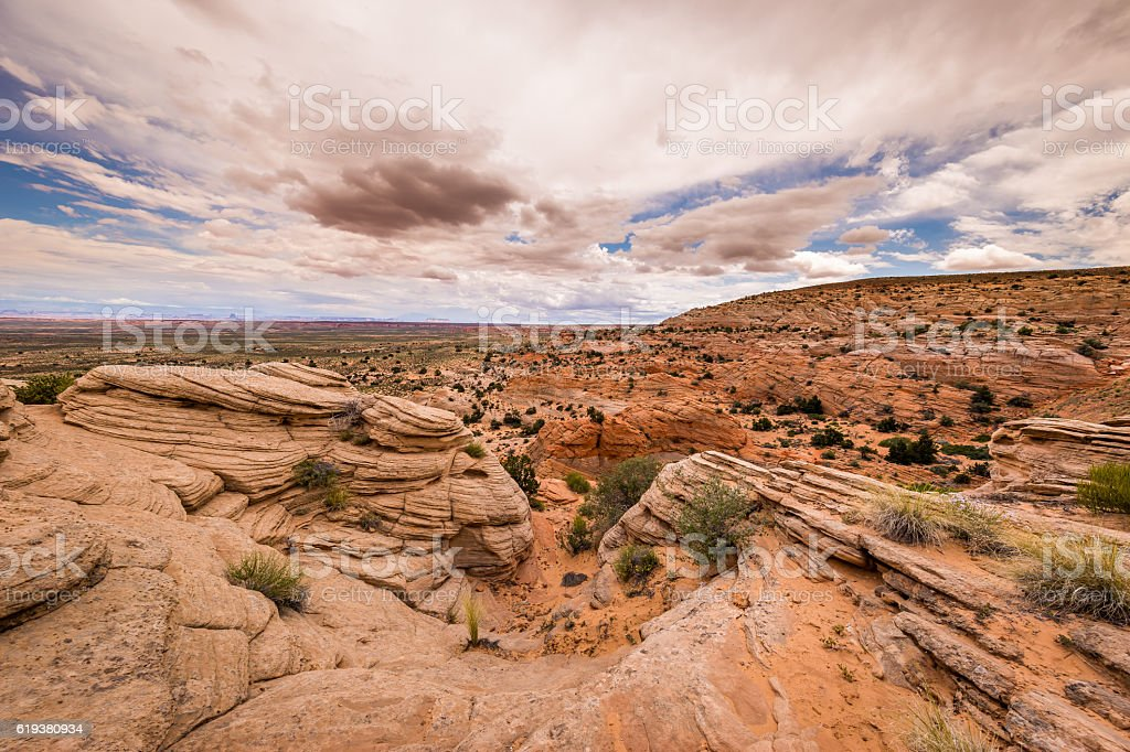 Beautiful sky over the canyon. stock photo