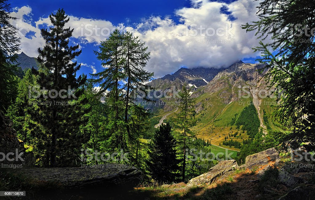 Beautiful sky with clouds and Mountains of Aosta valley Alps stock photo