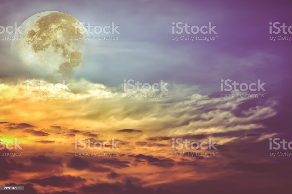 Beautiful sky with clouds, bright full moon stock photo