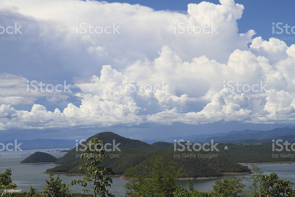 Beautiful sky with green mountain stock photo