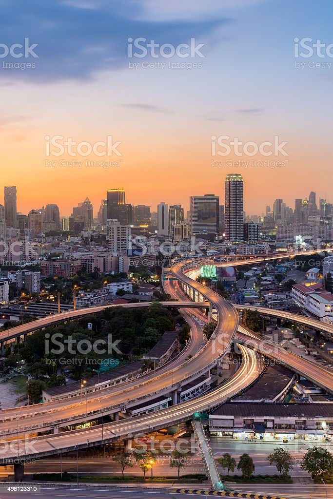 Beautiful skyline background with city downtown and highway overpass stock photo