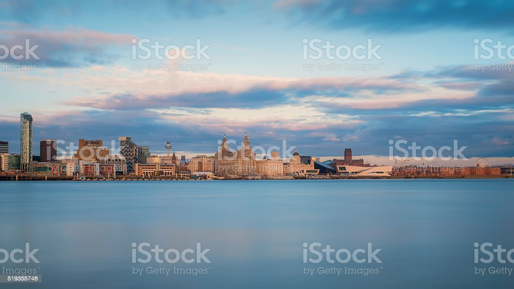 Beautiful skyline of Liverpool, Merseyside stock photo