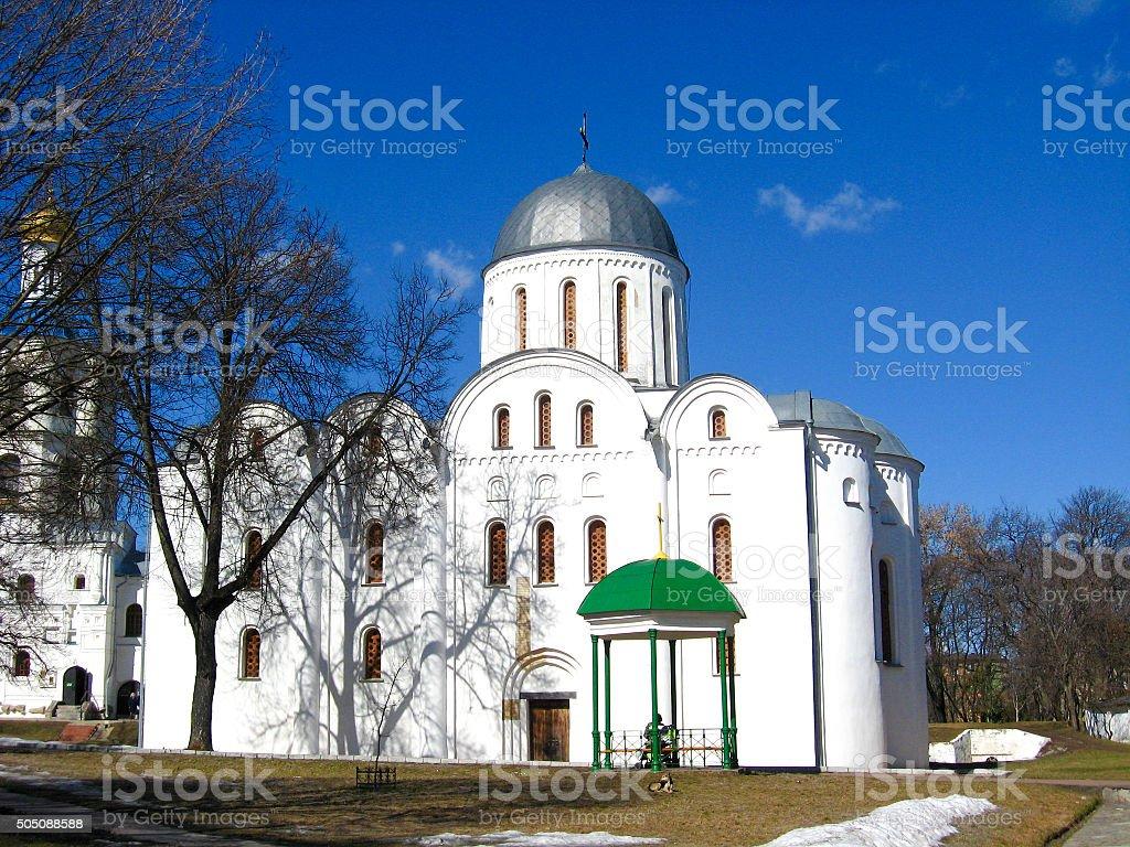 Beautiful slavonic church in Chernihiv stock photo