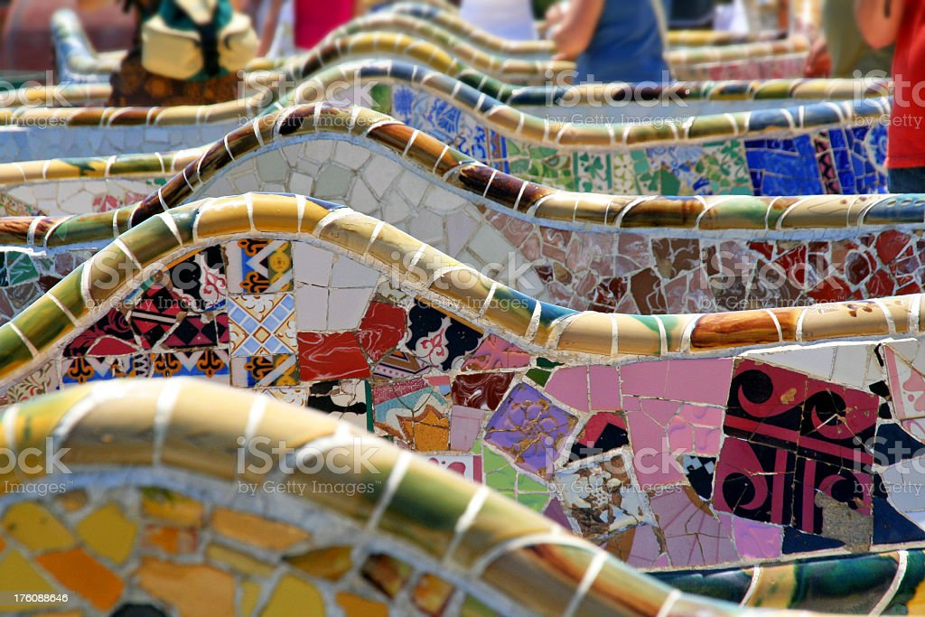 Beautiful slide picture image of Parc Guell in Barcelona stock photo