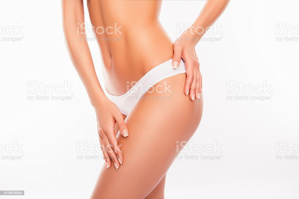 Beautiful slim woman body isolated on white background stock photo