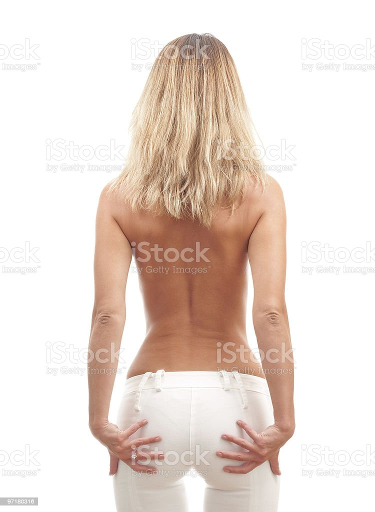 Beautiful slim young woman with naked back royalty-free stock photo