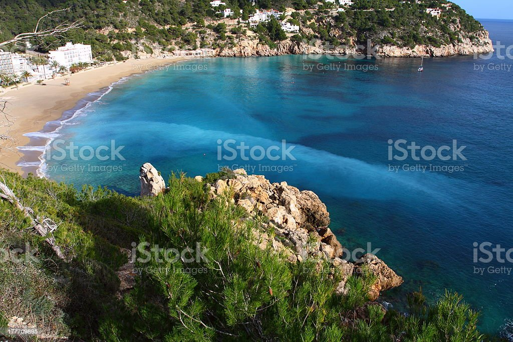 Beautiful small bay in Ibiza Spain stock photo