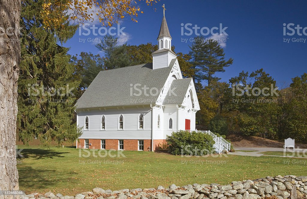 Beautiful small Church, Cornwall Bridge Road, Connecticut royalty-free stock photo