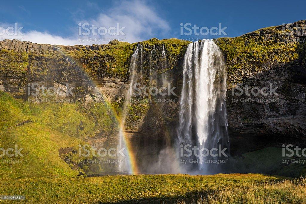 Beautiful small waterfall with river stock photo