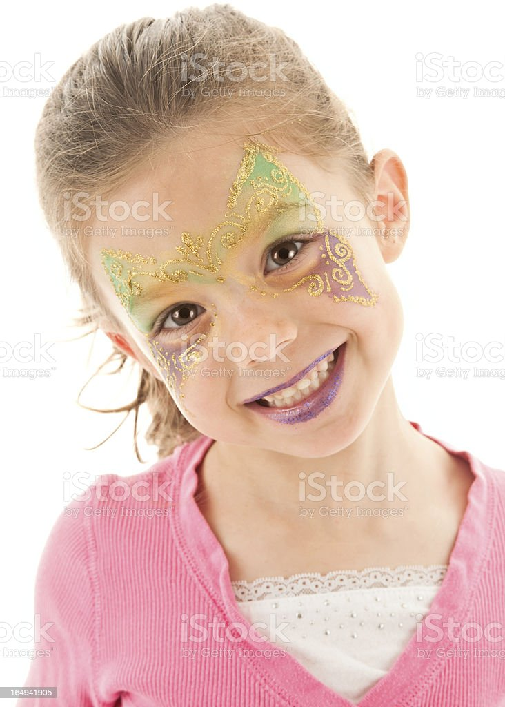 Beautiful Smile, Girl Showing off Painted Face stock photo