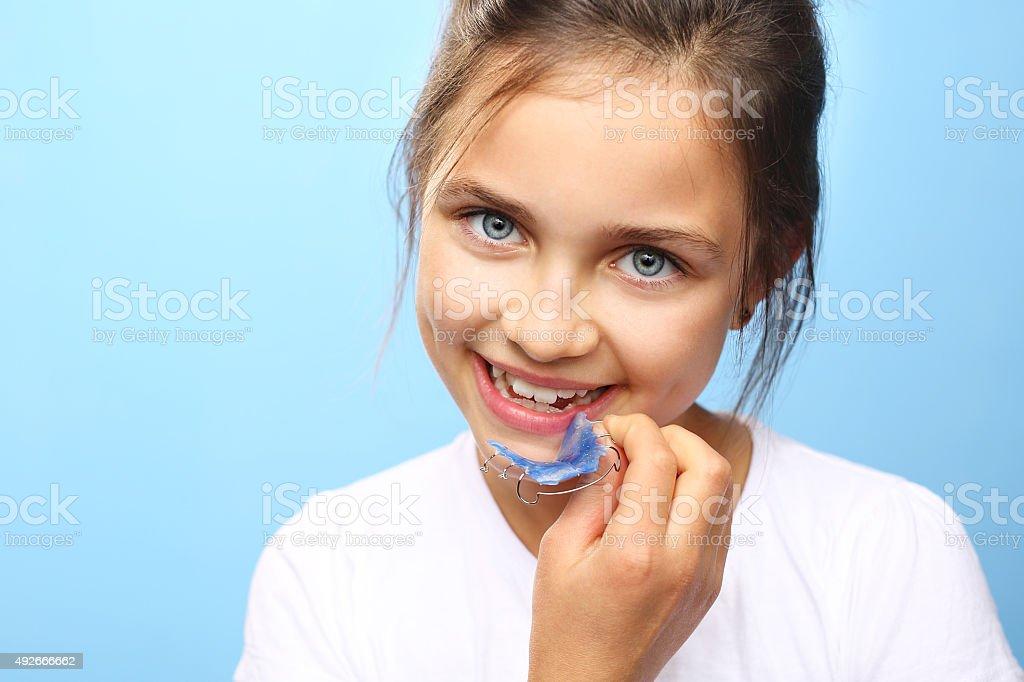 Beautiful smile, orthodontics. stock photo