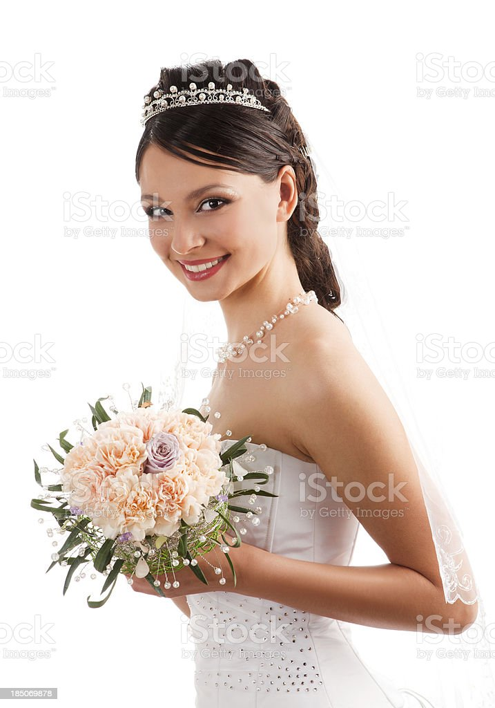Beautiful smiling bride in the veil with bouquet. royalty-free stock photo