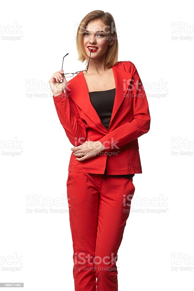 Beautiful smiling business woman wearing spectacles and in the r royalty-free stock photo