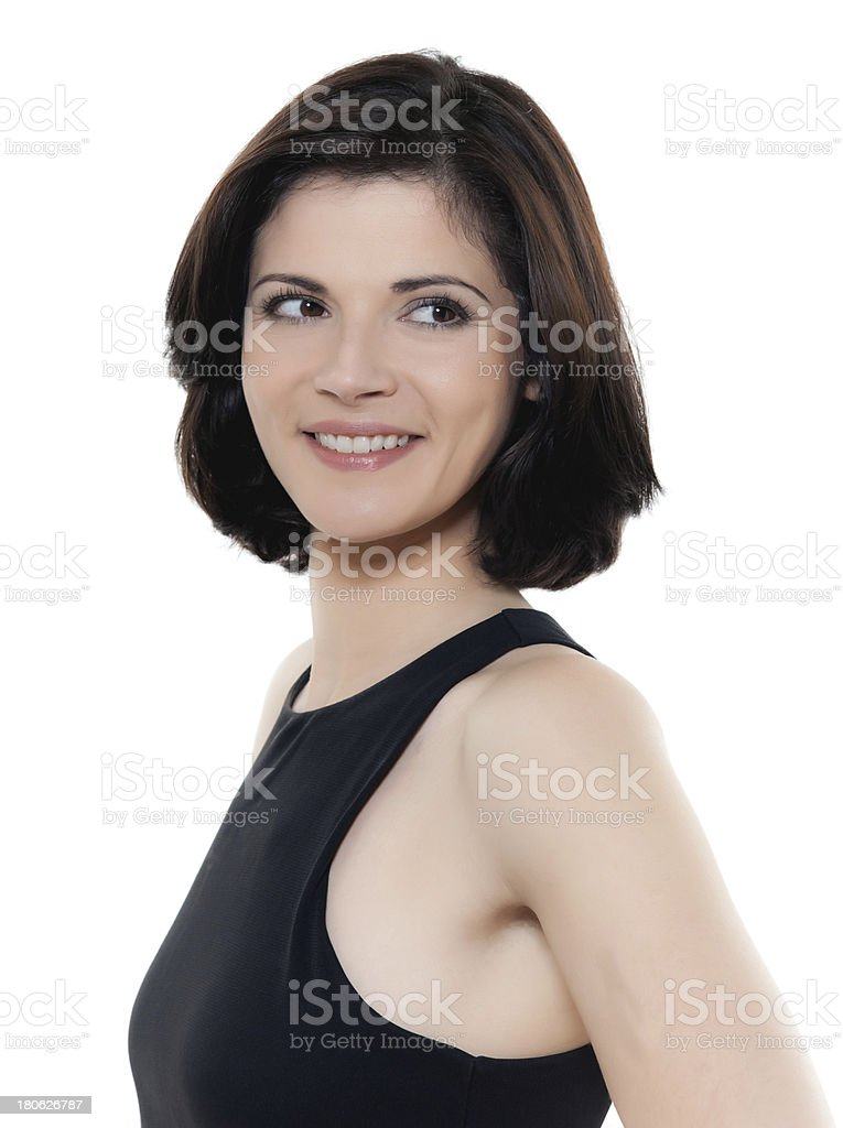 beautiful smiling caucasian woman looking away portrait royalty-free stock photo
