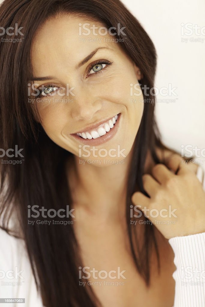 Beautiful smiling female stock photo