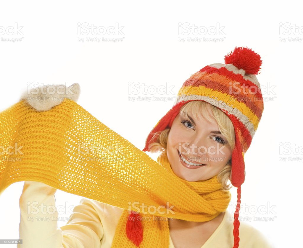 Beautiful smiling girl in winter clothing. royalty-free stock photo