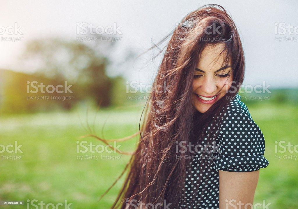 beautiful smiling girl stock photo