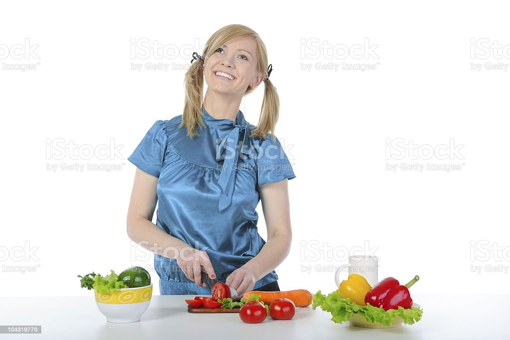 Beautiful smiling girl preparing breakfast royalty-free stock photo