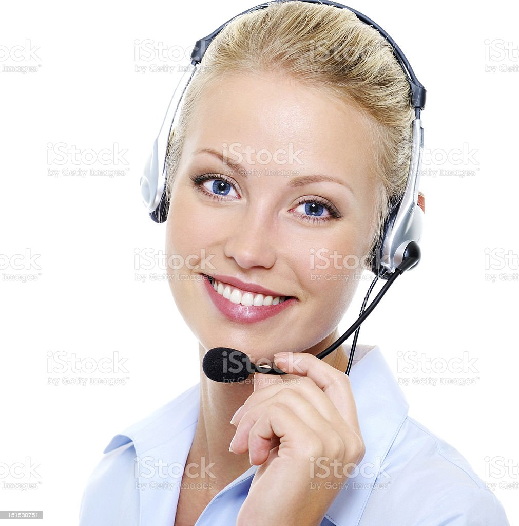 beautiful smiling happy woman in headset stock photo
