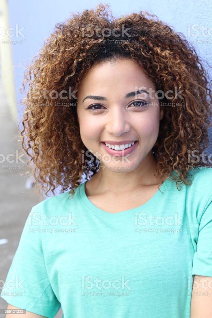 Beautiful smiling latin woman portrait stock photo