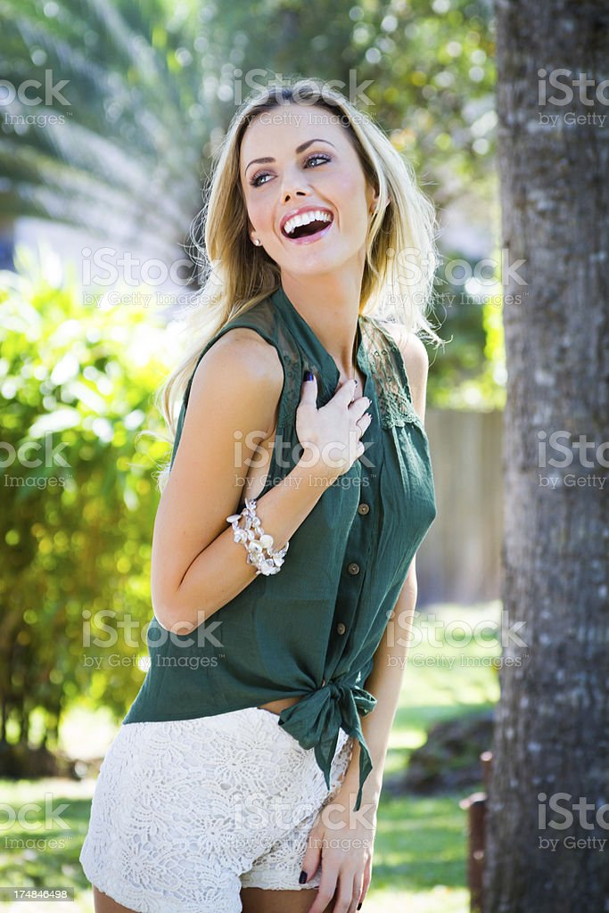 Beautiful smiling laughing woman royalty-free stock photo