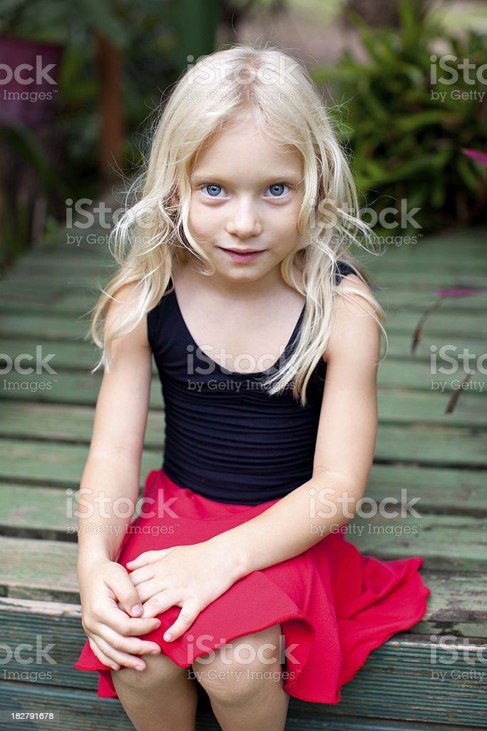 Beautiful smiling little girl caucasian long blonde hair Australian royalty-free stock photo