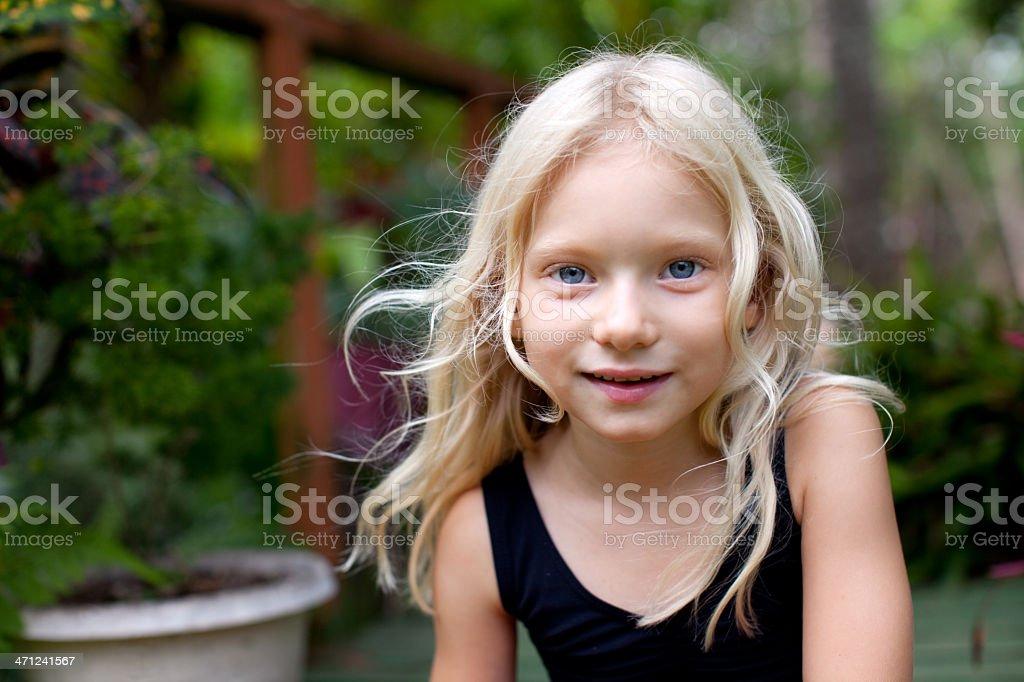 Beautiful Smiling Little Girl Long Blonde Hair Australian royalty-free stock photo
