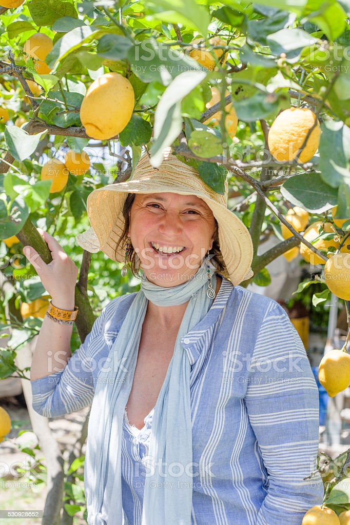 Beautiful Smiling Woman Among Lemon Tree stock photo