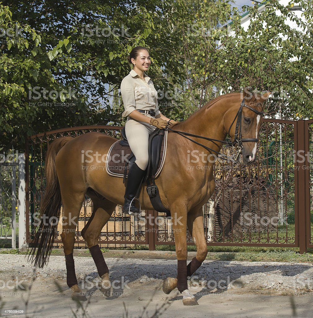 Beautiful smiling women riding a brown horse in countryside. royalty-free stock photo