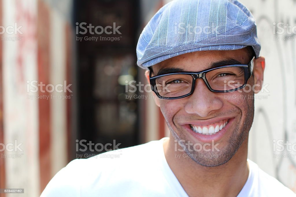 Beautiful Smiling Young man Portrait close up stock photo