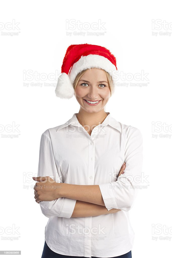 Beautiful smiling young Santa hat over white royalty-free stock photo