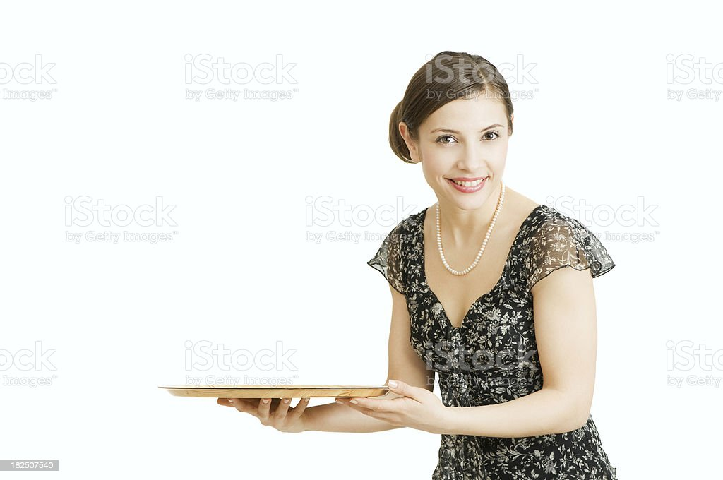 Beautiful smiling young woman holding a tray royalty-free stock photo