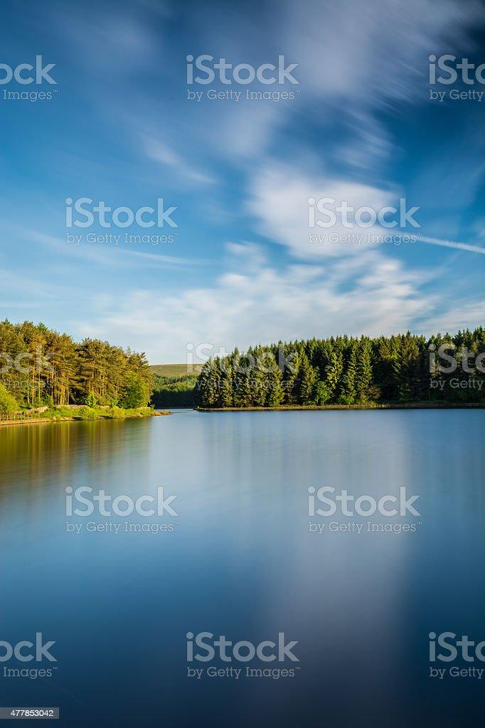 Beautiful Smooth Lake At Entwistle Reservoir. stock photo