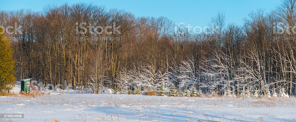 Beautiful snow frosted forest with dear hunting stand. stock photo