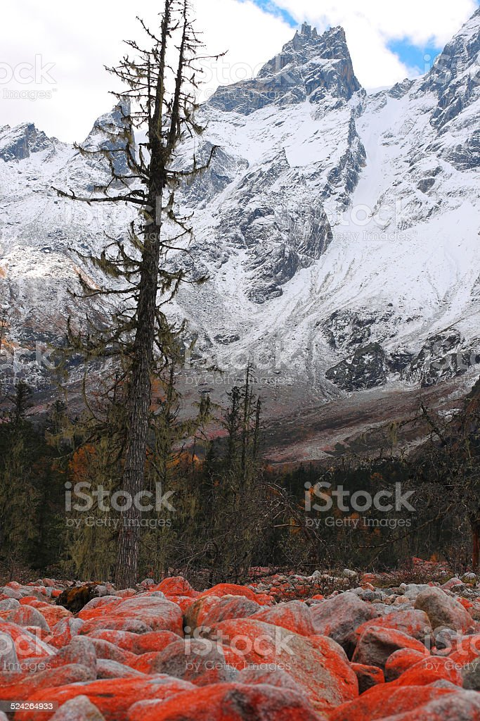 Beautiful snow mountains and red stones in southwest China stock photo