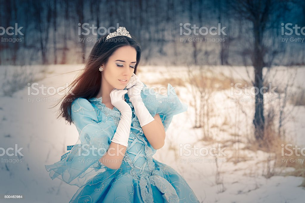 Beautiful Snow Queen in Winter Decor stock photo