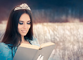 Beautiful Snow Queen Reading a Book