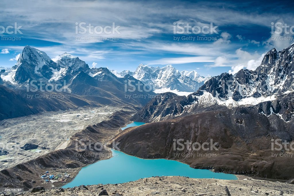Beautiful snow-capped mountains with lake stock photo