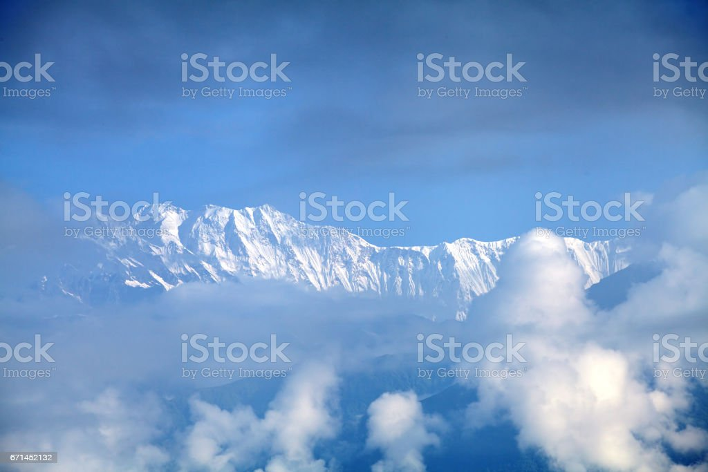 Beautiful snow-covered Machhapuchhre and Annapurna range from Sarangkot peak stock photo