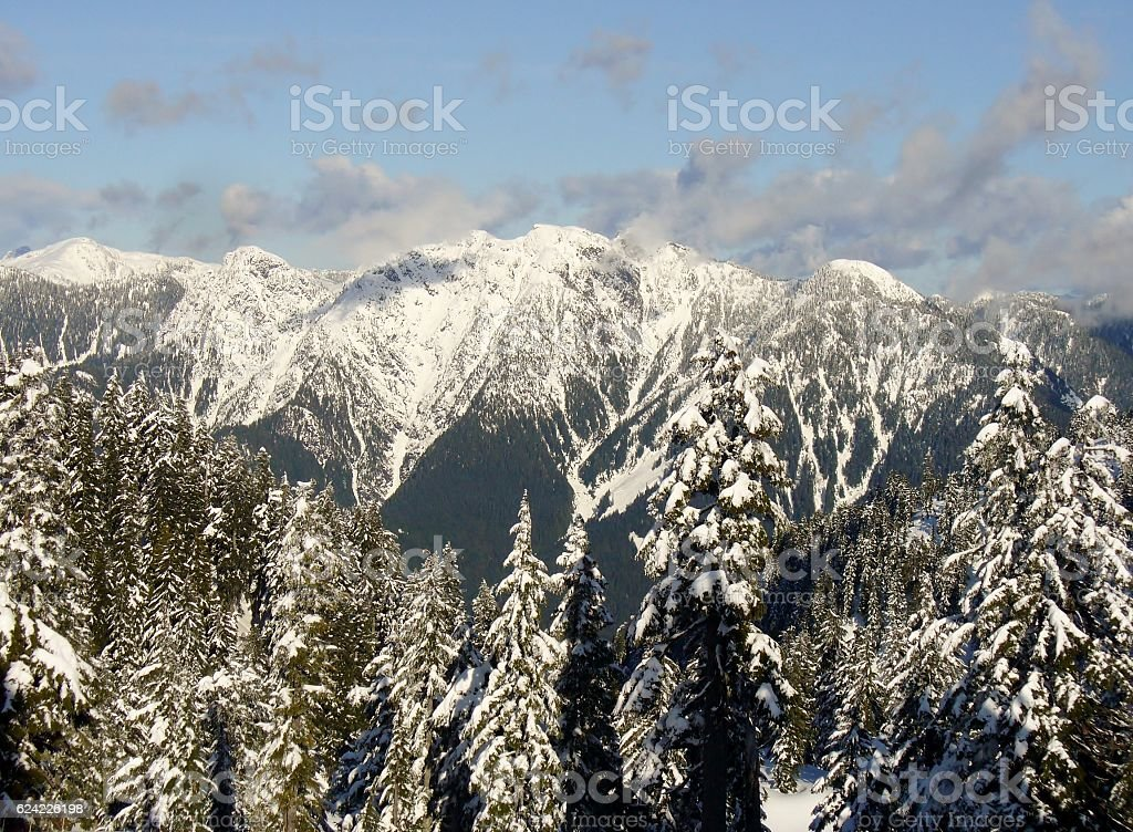 Beautiful snowy mountains. Whistler, British Columbia, Canada stock photo